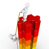 Person helping another to reach the top. 3d person pulling with rope another to reach the top of puzzle pieces royalty free illustration