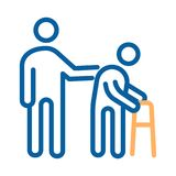 Person helping old patient. Vector thin line icon illustration. healthcare for the older people vector illustration