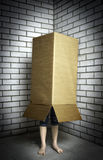 A person hiding in a box. Person hiding in a carton box.2013-4-17 Royalty Free Stock Images