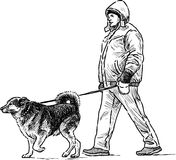 Person with his dog Royalty Free Stock Photography