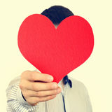 Person hold Red Heart. Toned Photo of Person hold Red Heart Shape Stock Images
