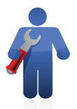 Person hold spanner Royalty Free Stock Image
