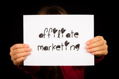 Person holding affiliate marketing sign Royalty Free Stock Photography