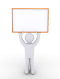 Person is holding a blank sign high Stock Image