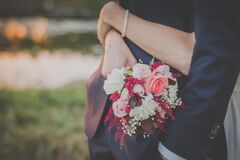 Person Holding a Bouquet of Flower Royalty Free Stock Photography