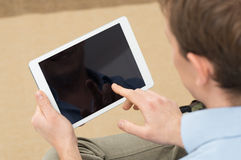 Person Holding Digital Tablet stock photo