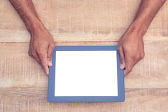 Person holding on digital tablet Stock Images