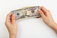 Person holding dollars in hands Stock Image