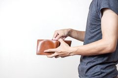 Person holding an empty wallet Stock Photo