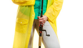 Person holding fishing rod, spinning equipment. Stock Photography