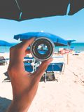 Person Holding Gray Lens Stock Photography