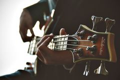 Person Holding Guitar Performing Music Stock Images