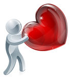 Person holding heart. An illustration of a sliver person holding a heart symbol Royalty Free Stock Image
