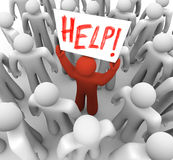 Person Holding Help Sign in Crowd. A red person stands out in a crowd holding a sign reading Help vector illustration