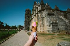 Person Holding Ice Cream With Cone Royalty Free Stock Images