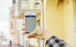 Person Holding Iphone Stock Images
