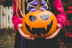 Person Holding Jack O Lantern Stock Images