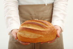 Person holding a loaf of bread Royalty Free Stock Photo