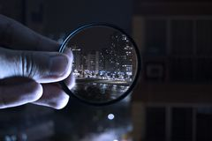 Person Holding Magnifying Glass Royalty Free Stock Images