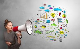 Person speaking in loudspeaker with office concept. Person holding megaphone and yelling office conceptn stock image