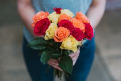 Person Holding Multicolored Petaled Flower Bouquet royalty free stock images