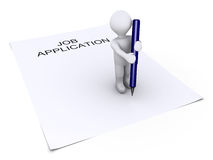 Person holding a pen is on job application paper. 3d person holding a blue pen is on top of a job application paper Stock Photo