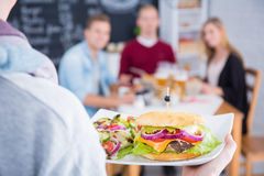 Person holding plate with cheeseburger royalty free stock photography