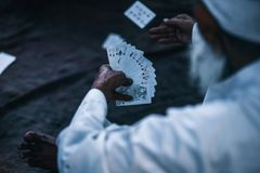 Person Holding Playing Cards royalty free stock image