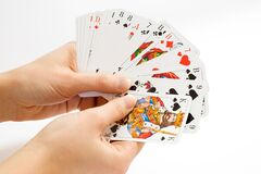 Person Holding Playing Cards royalty free stock photo