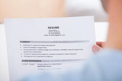 Person holding resume Royalty Free Stock Photography