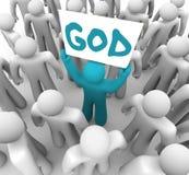 Person Holding Sign Spreading Word de dios Fotos de archivo libres de regalías