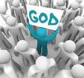 Person Holding Sign Spreading Word des Gottes Lizenzfreie Stockfotos