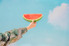 Person Holding Sliced Water Melon Royalty Free Stock Photo