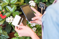 Person holding smartphone and credit card while standing in flower shop Royalty Free Stock Photos