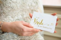 Person Holding to My Bride-printed Card stock image