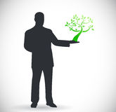 Person holding a tree. natural eco concept Stock Photo