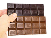 Person holding two whole bars of light and drak chocolate stock photo