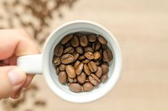 Person Holding White Mug With Coffee Beans Stock Photography