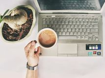 Person Holding White Mug on Gray Laptop Computer royalty free stock photo
