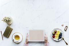 Person Holding White Tablet Computer Beside Teacup and Saucer of Blueberries stock image
