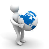 Person holds a globe. Isolated illustrations. Person holds a globe. 3D image. Isolated illustrations Stock Photography
