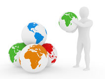 The person holds a planet the earth on arms Stock Photography