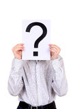 Person holds Question Mark Stock Image