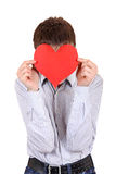Person holds Red Heart shape Stock Photos