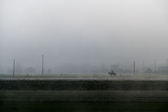 Person on a horse going through the mist. A lonely rider in the thick fog Stock Photo