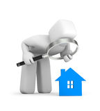 Person and house icon. Business concept isolated on white Royalty Free Stock Photos