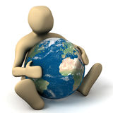 Person hugging a planet. 3d Person sitting and hugging a planet Royalty Free Stock Photography
