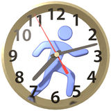 Person hurry runs in time clock hours. Busy person hurry runs work day race inside the time clock royalty free illustration