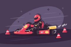 Person i skyddande dräkt på racerbilritter på karting stock illustrationer