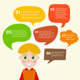 Person icon with colorful dialog speech bubbles. Stock Images